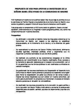 Propuesta de Vox para apoyar la investidura de Díaz Ayuso en Madrid