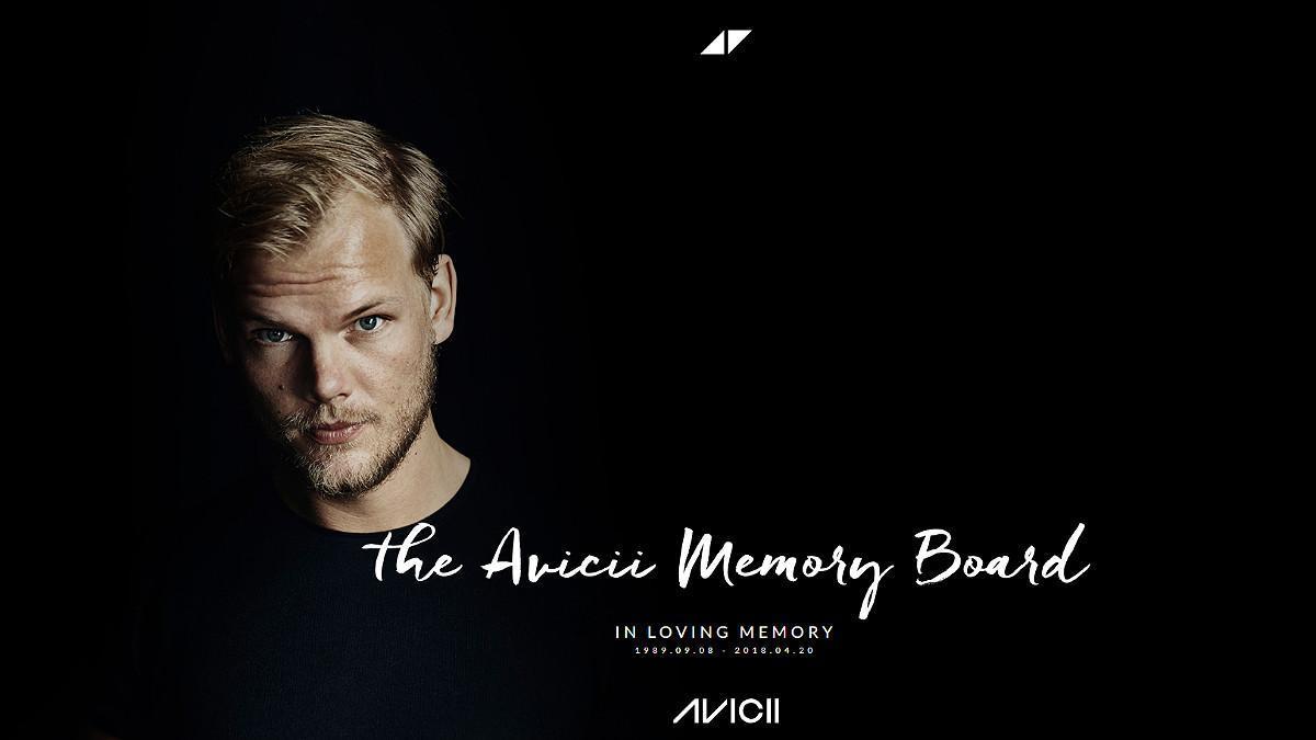 Portada de la página web que rinde tributo al artista Avicii