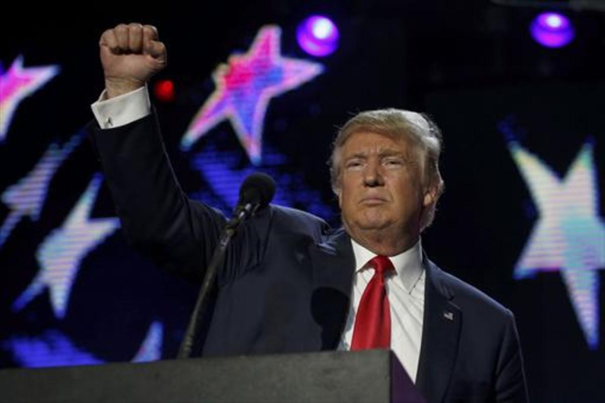 Donald Trump en un acto de la campaña electoral estadounidense.
