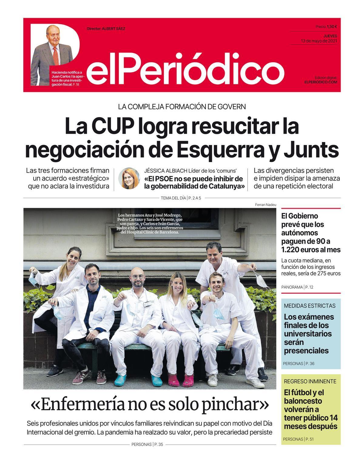 La portada de EL PERIÓDICO del 13 de mayo del 2021