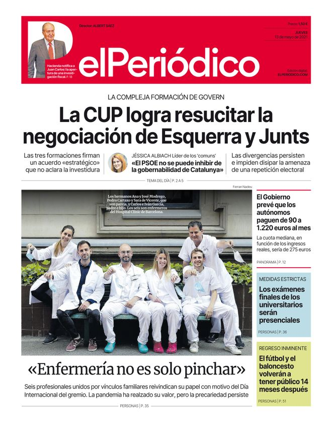 La portada d'EL PERIÓDICO del 13 de maig del 2021