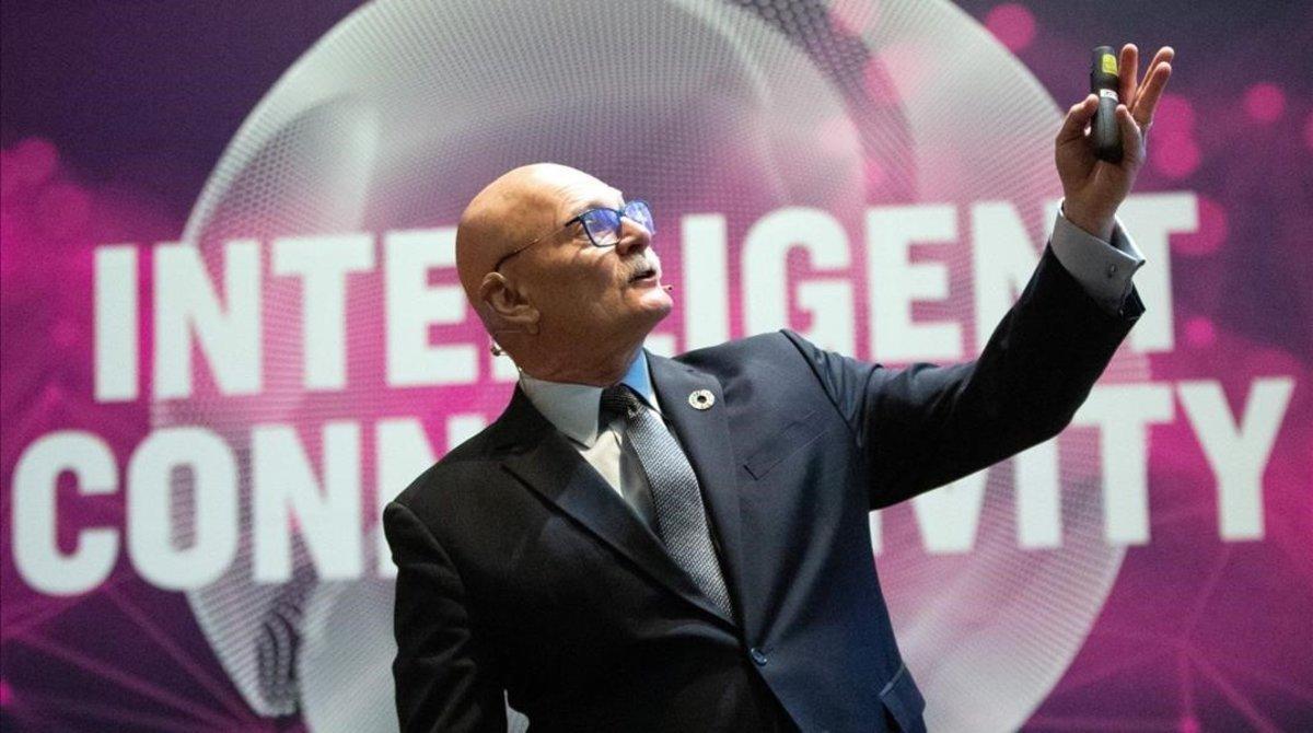 El consejero delegado de la GSMA, organizadora del Mobile World Congress, en la presentación de la feria del 2019.