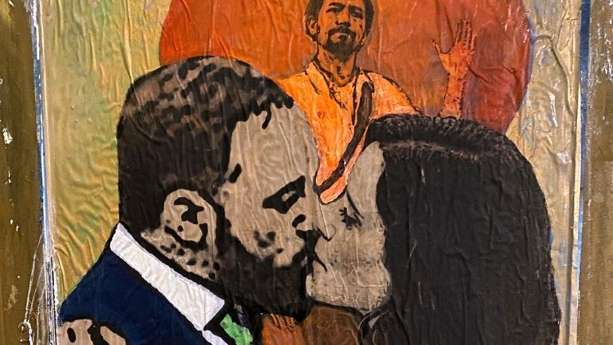 L'ardent petó d'Ayuso i Abascal protagonitza el nou mural de Tvboy