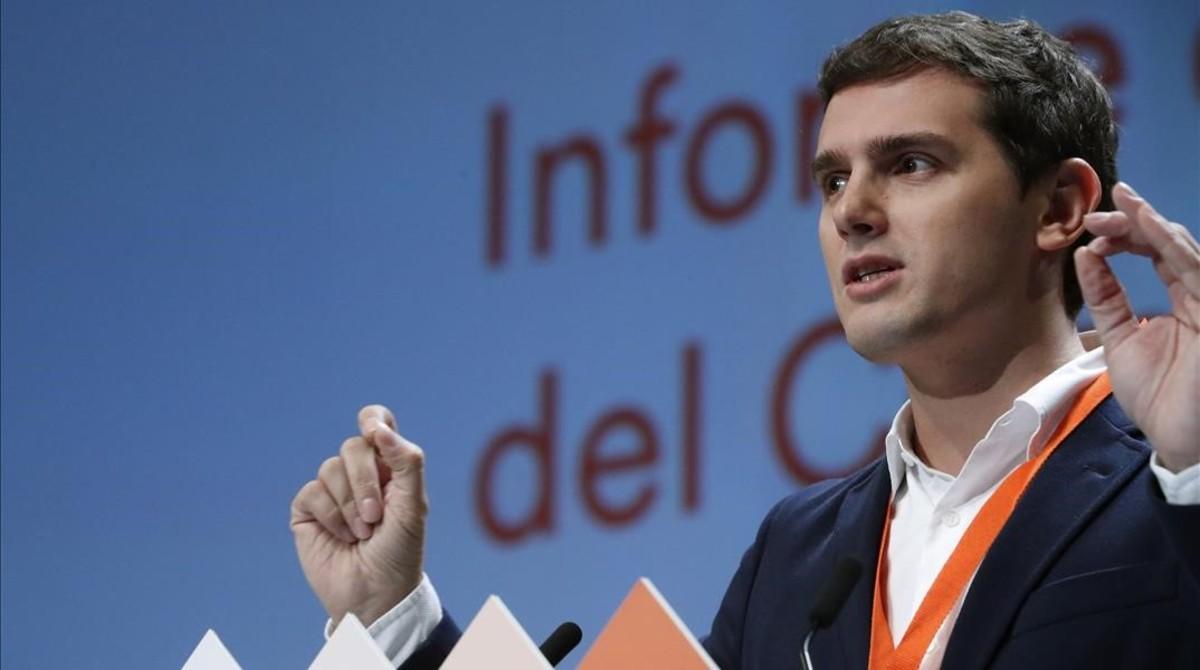 Albert Rivera, presidente de Ciudadanos, durante el congreso del partido, en febrero.