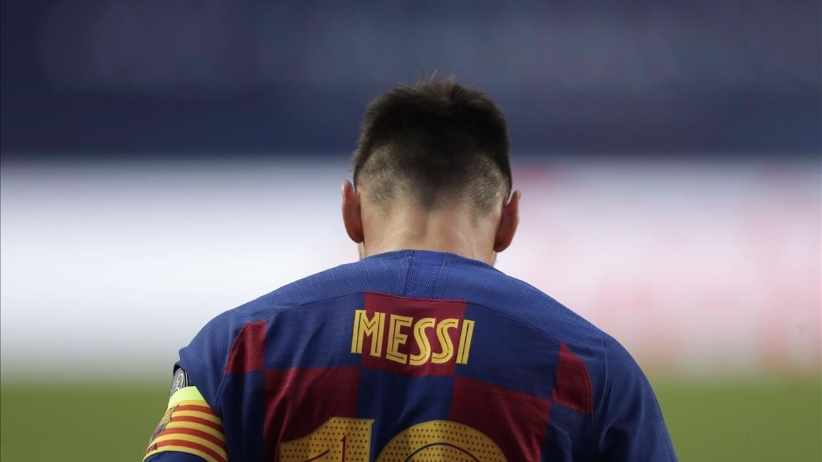 Messi, en Lisboa durante el Barça-Bayern de la Champions.