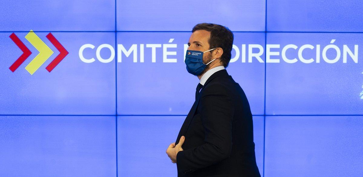 Pablo Casado, durante el comité de dirección del PP del pasado 5 de octubre.
