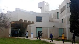 Pequeña cola ordenada este jueves, ante las puertas de la Fundació Miró.