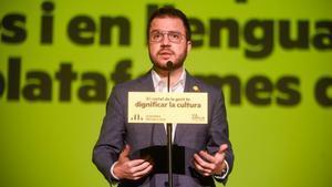 El cabeza de lista de ERC a las elecciones al Parlament, Pere Aragonés durante un acto en Barcelona