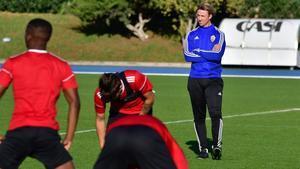 Guti, durante un entrenamiento del Almería.