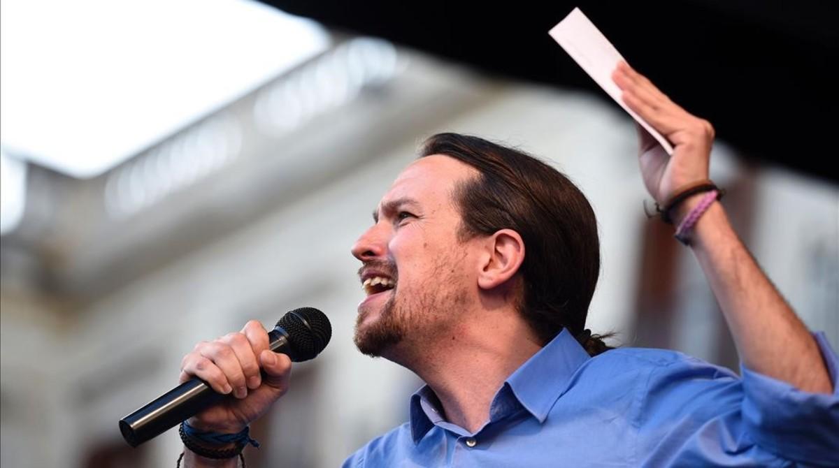 Pablo Iglesias durante un mitin en Vitoria, en la campaña del 26-J.