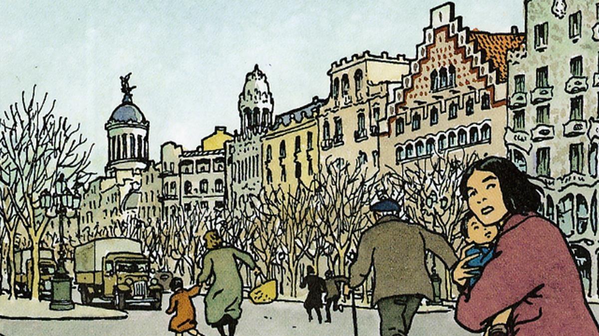 Viñeta de '¡No pasarán!', de Vittorio Giardino, durante un bombardeo franquista sobre Barcelona, en pleno paseo de Gràcia.