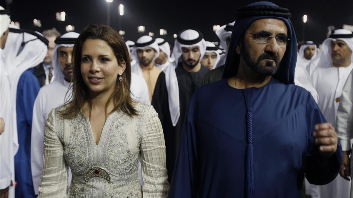 El primer ministro y vicepresidente de los Emiratos Árabes Unidos y gobernador de Dubai, el jeque Mohamed, y su mujer, la princesa jordana Haya Bint al Hussein, en un acto del 2011.