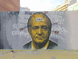 El mural sobre la libertad de expresión, con la figura del rey emérito, que borraron los servicios municipales de limpieza.