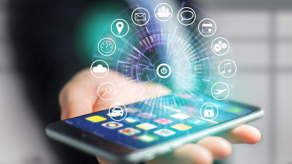 Un móvil con distintas aplicaciones.