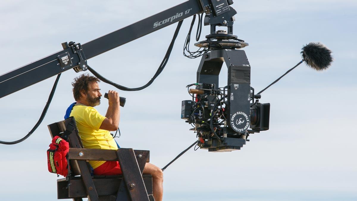 Rodaje de la película 'Mediterráneo' con Eduard Fernández.