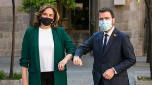 Ada Colau y Pere Aragonès se reúnen en el Palau de la Generalitat.
