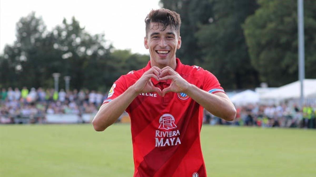 Marc Roca celebra un gol con el Espanyol.