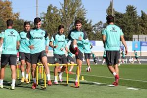 Los jugadores del Espanyol, en un entrenamiento de esta semana.