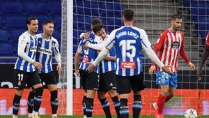 Una imagen del Espanyol en su partido de Liga ante el Lugo