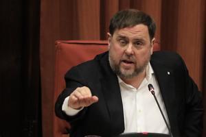 Junqueras, en la comisión de investigación del Parlament de Catalunya por la aplicación del artículo 155 , el pasado 28 de enero.