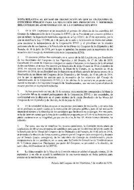 Informe de los letrados del Congreso sobre la situación del concurso público de RTVE, a 5 de octubre de 2020.