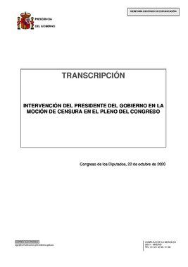 Transcripción de la réplica final de Pedro Sánchez en la moción de censura de Vox, este 22 de octubre de 2020.