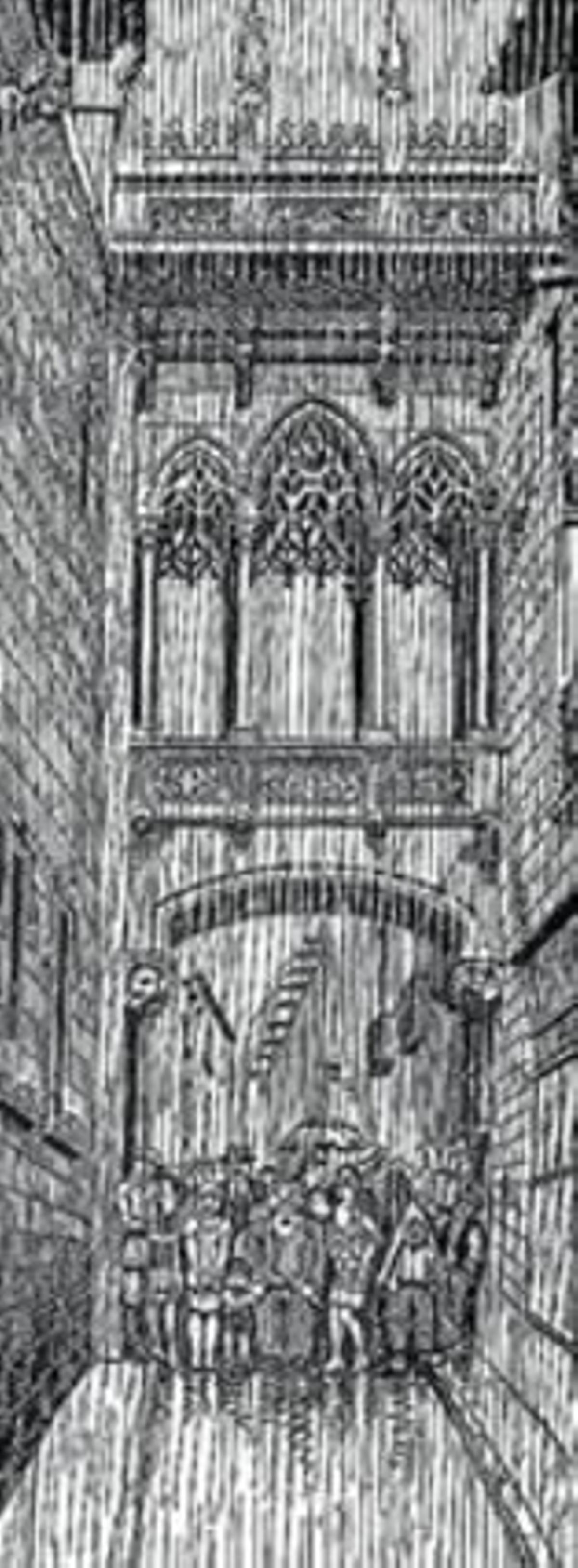 La viñeta 8 'L'Esquella de la Torratxa' bromeó con saña sobre qué usos dar al puente de la calle del Bisbe tras su inauguración en 1928.