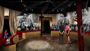 Una de las salas del museo Chaplin, en Suiza, que recreaun teatro con 160 butacas decorado como la película 'El circo'.