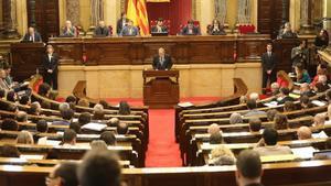El 'president' Quim Torra, durante su comparecencia este miércoles en el Parlament.