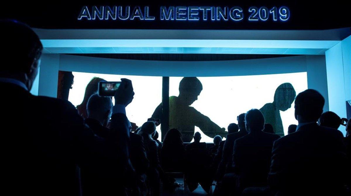 Asistenes al pleno de clausura delForo Económico Mundial de Davos 2019.