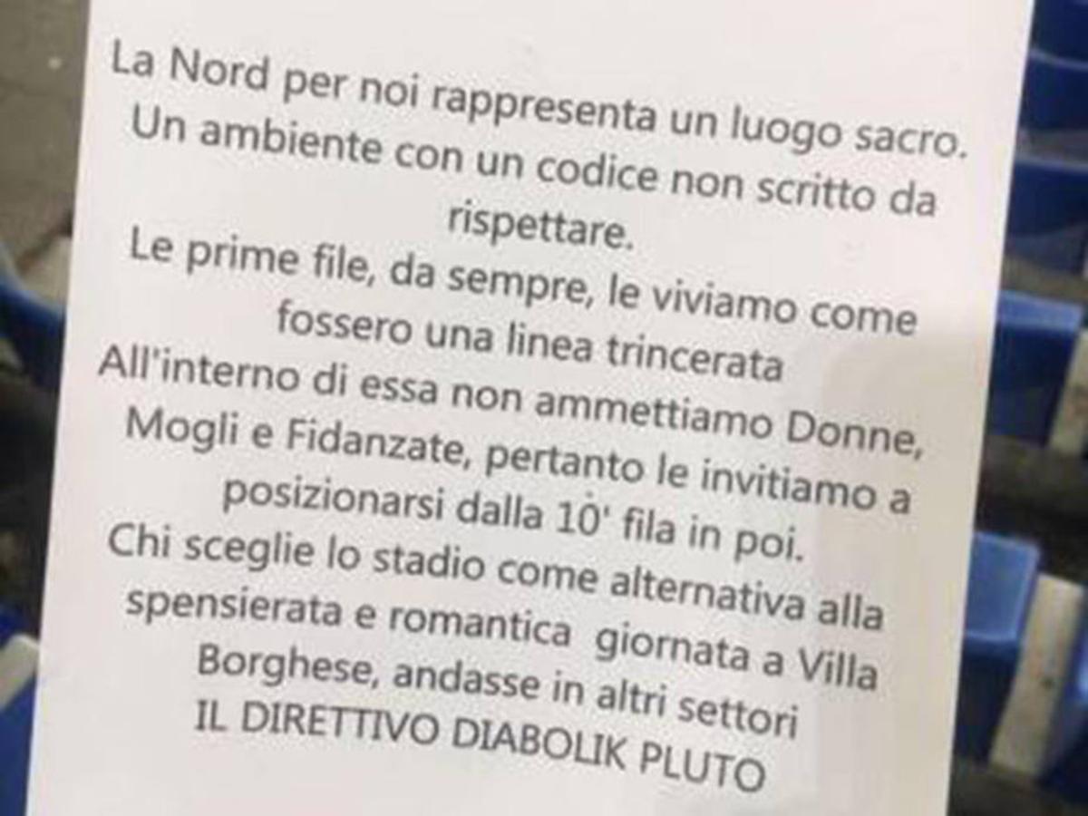 Octavilla repartida en el Lazio-Nápoles en la que se impide la entrada de mujeres al fondo norte