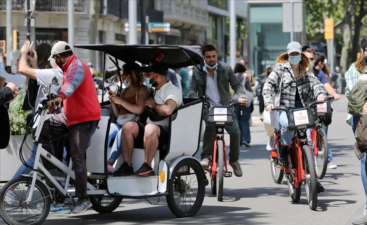 Turistas esta primavera en Barcelona.