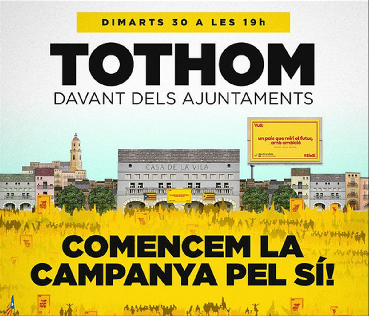 Cartel de la convocatoria de esta tarde ante los ayuntamientos catalanes.