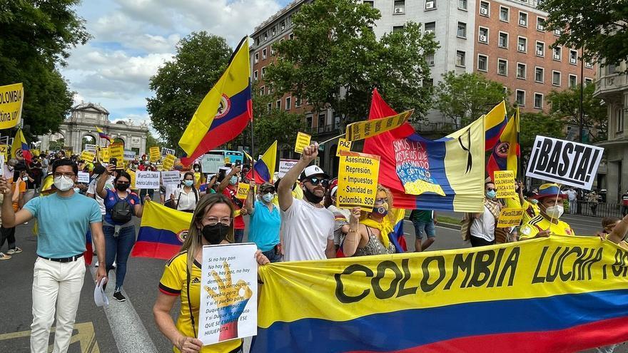 Residentes colombianos protestan en Madrid contra el gobierno de su país
