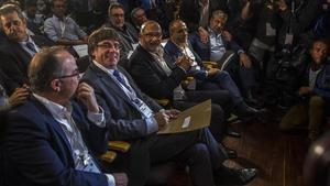 Carles Puigdemont, en una reunión extraordinaria del PDECat celebrada el pasado 18 de octubre.