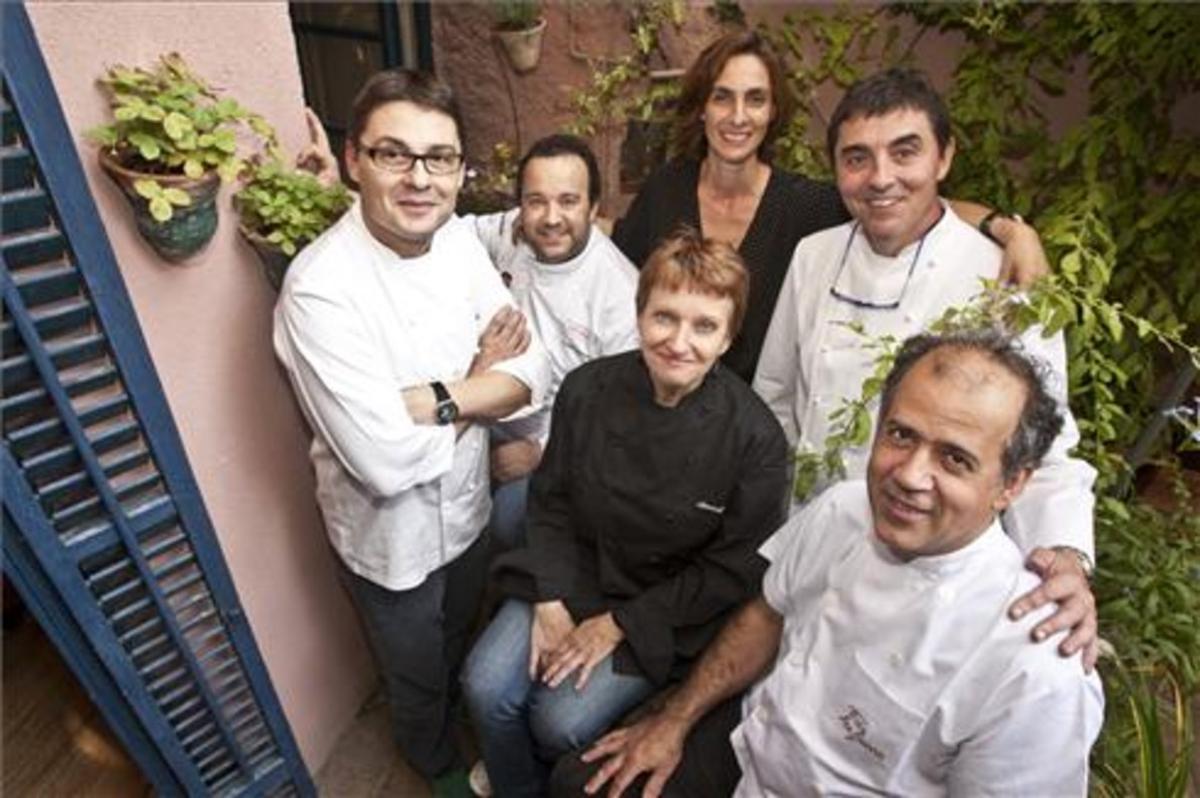 Oriol Balaguer, Carles Mampel, Reyes Lizán, Isidre Soler, Annick Jannin y Oriol Madern (delante). Foto: Danny Caminal