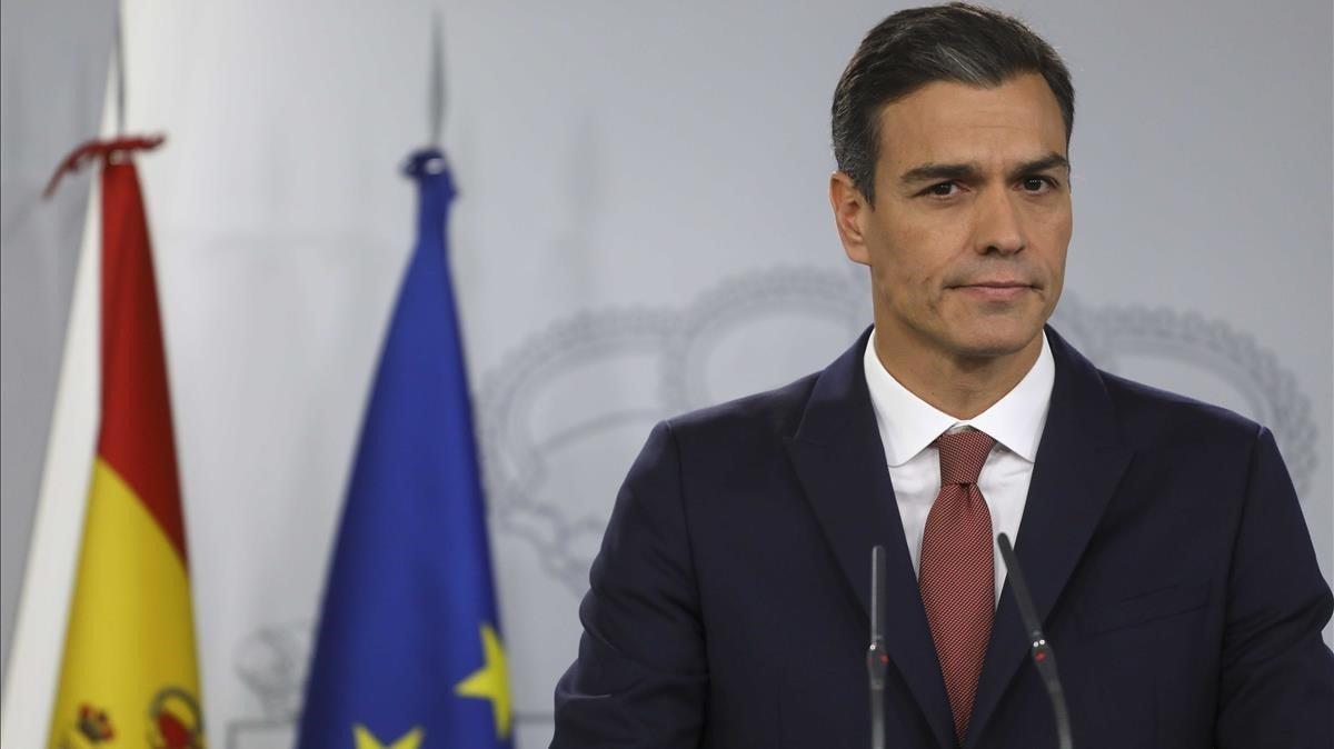El presidente del Gobierno, Pedro Sánchez, durante la rueda de prensa.