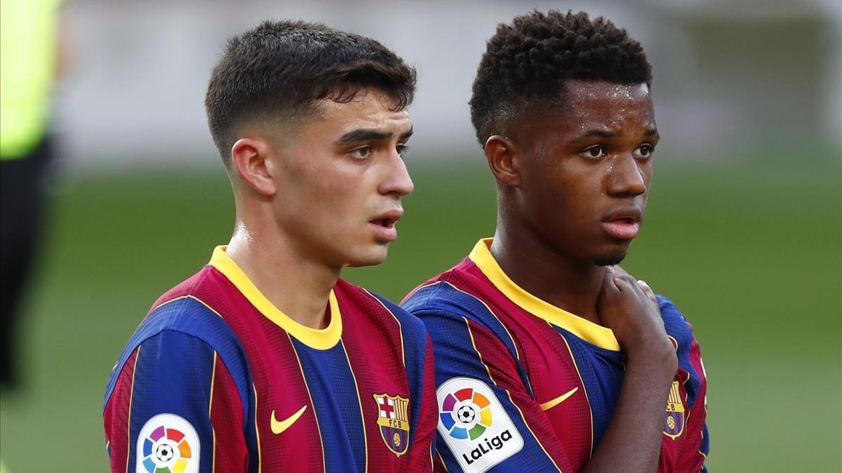 Pedri y Ansu Fati, en un partido del Barça en el Camp Nou.