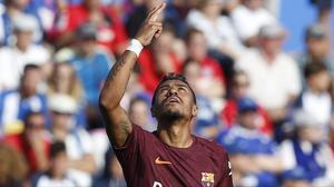 Paulinho celebra el gol que dio la victoria al Barça en Getafe.