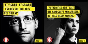 Los mensajes de Snowden y Pussy Riot para la campaña de Amnistía Internacional.