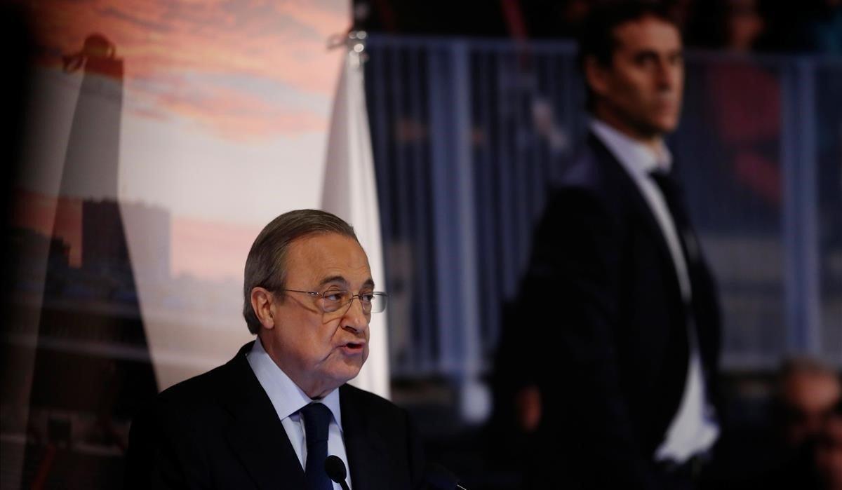 Florentino Pérez presenta a Julen Lopetegui en el Barnabéu, el 14 de junio del 2018.