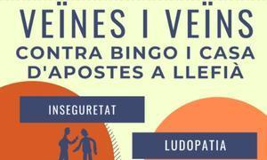 Cartel de contra la instalación de un bingo en el barrio de Llefià de Badalona.