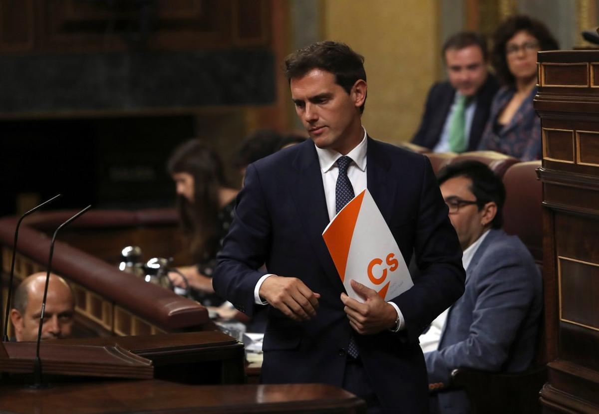 Albert Rivera, líder de Ciudadanos, en el debate de investidura.