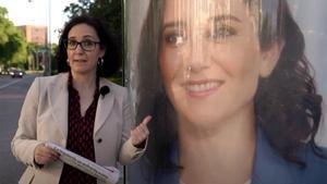 Gemma Robles, junto a un cartel de Isabel Díaz Ayuso.