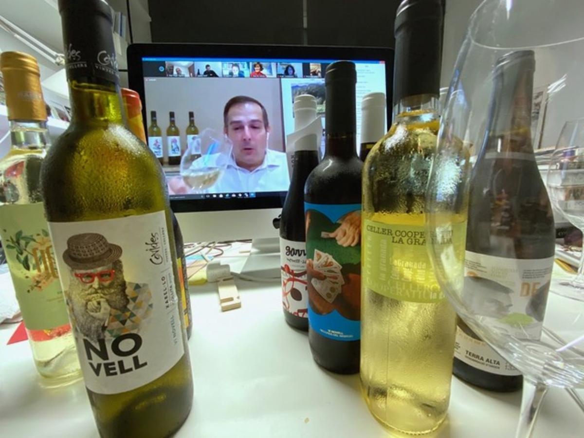 Un momento de la cata de vinos virtual con motivo de la presentación del Vi Novell 2020.