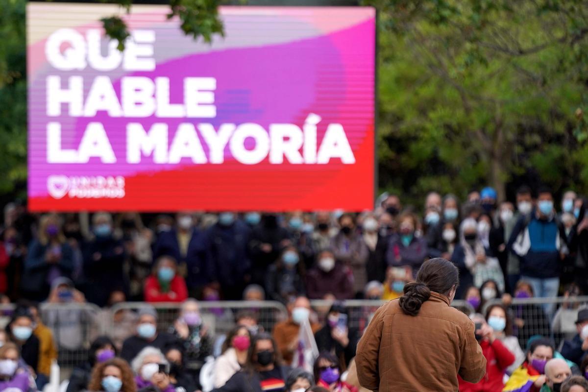 Pablo Iglesias, durante un acto de Unidas Podemos en Vallecas.