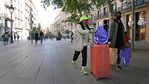 Turistas en el centro de Barcelona esta semana.
