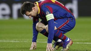 Leo Messi, en un gesto de desolación el día de la derrota ante la Juventus.