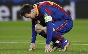 Soccer Football - Champions League - Group G - FC Barcelona v Juventus - Camp Nou  Barcelona  Spain - December 8  2020 FC Barcelona s Lionel Messi reacts REUTERS Albert Gea