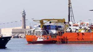 Llegada del 'Aquarius' al puerto de València el pasado 17 de junio del 2018.